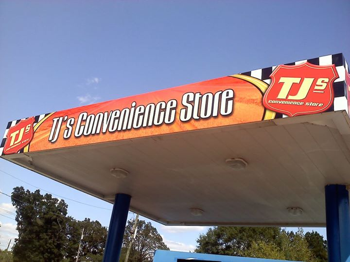 Wrapped canopy at TJ's convenience store