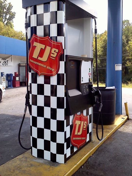 Premium cast digital vinyl applied to TJ's gas station